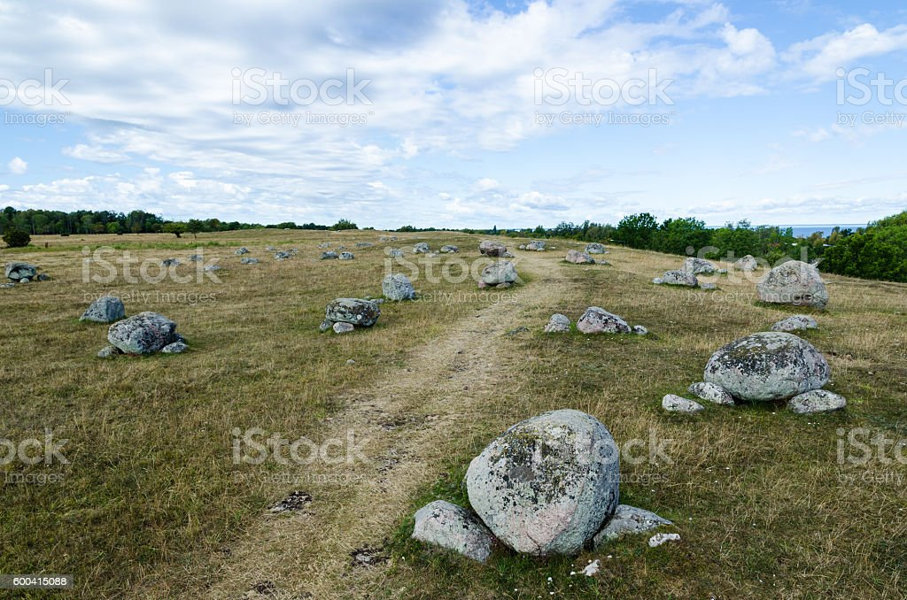 Footpath by ancient gravestones stock photo