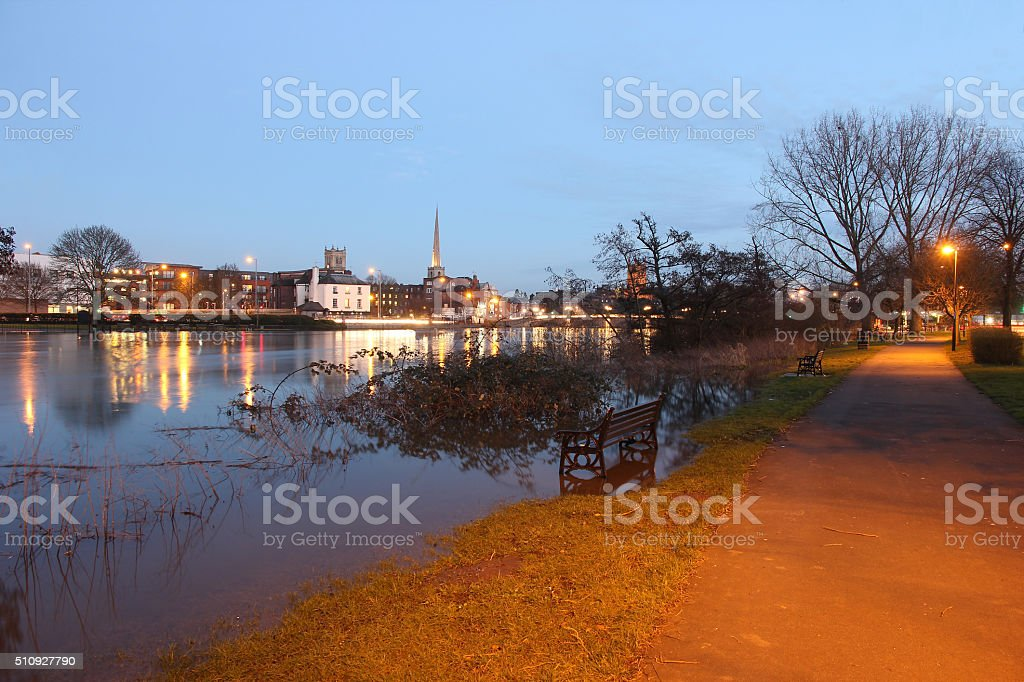 Footpath by flooded river Severn Worcester stock photo