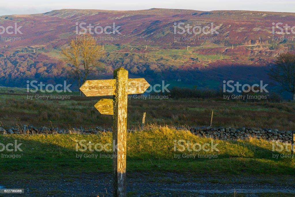 UK footpath finger post catching sun stock photo