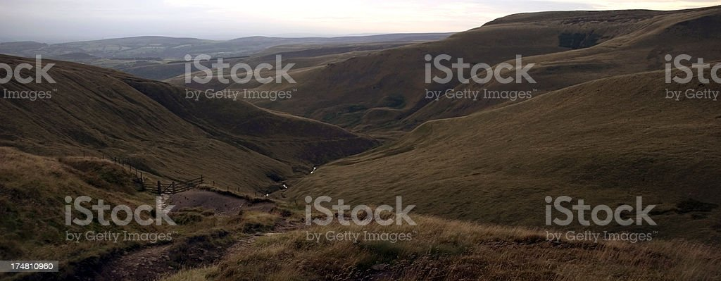 Footpath from Bleaklow in the Peak District royalty-free stock photo