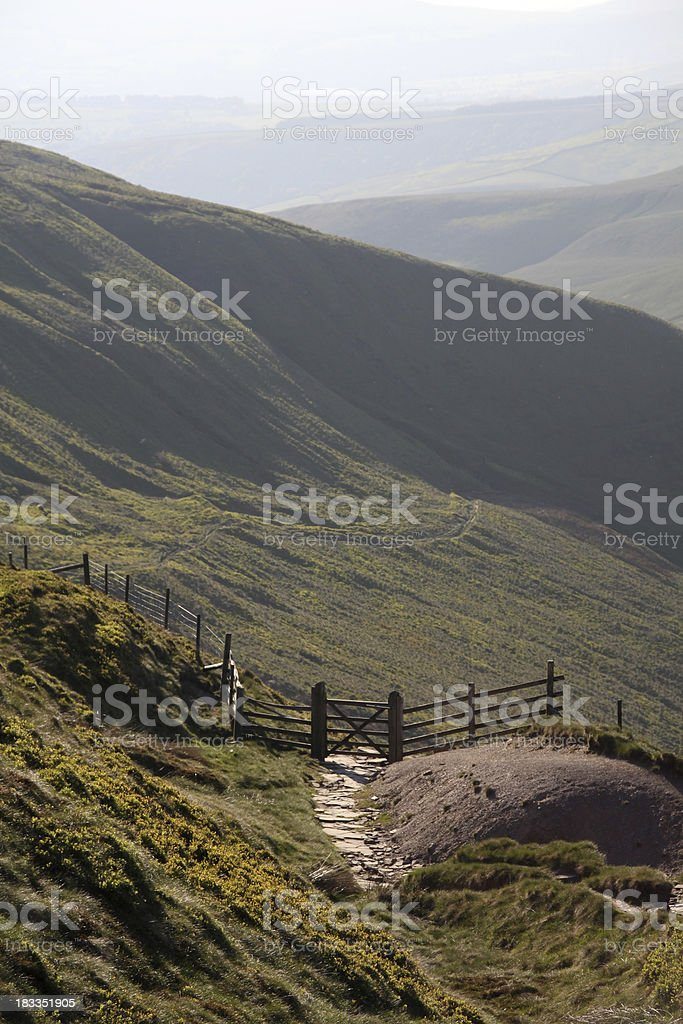 Footpath from Bleaklow in the Peak District stock photo