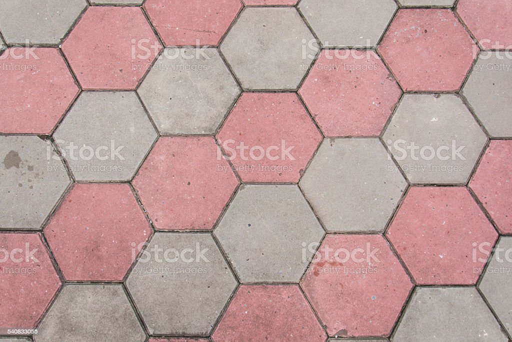 footpath hexagon concrete block stock photo
