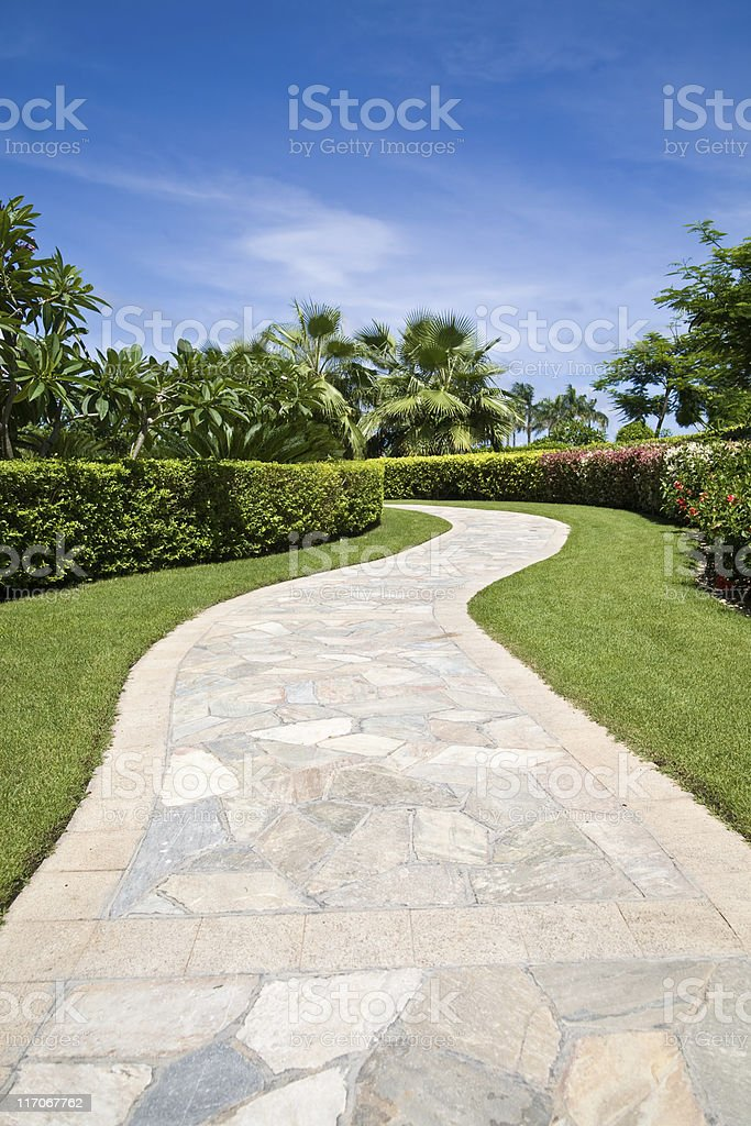 Footpath in a garden royalty-free stock photo