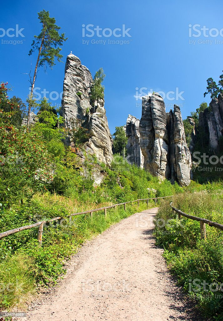 Footpath in bohemian paradise, Prachovske skaly royalty-free stock photo