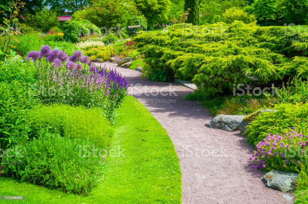 Footpath in lovely garden royalty-free stock photo