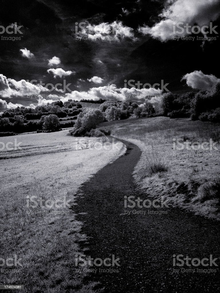 Footpath in the country side (infrared) royalty-free stock photo