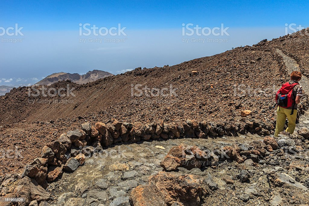 Footpath in the Teide National Park, Tenerife royalty-free stock photo