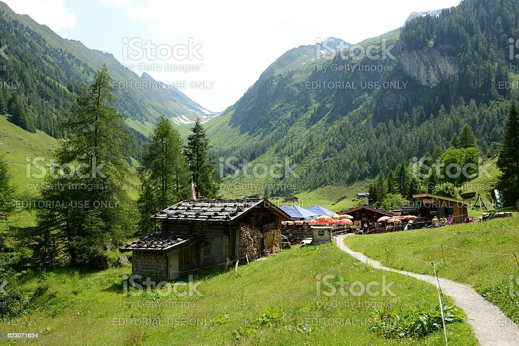 footpath leading through Zillertal valley in Austria. stock photo