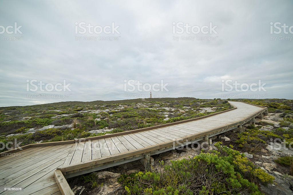 Footpath leading to the Cape du Couedic lighthouse stock photo