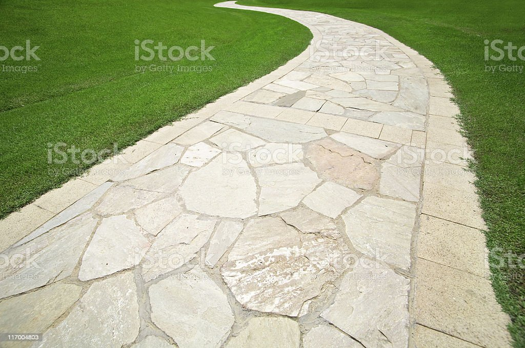 Footpath on grass royalty-free stock photo
