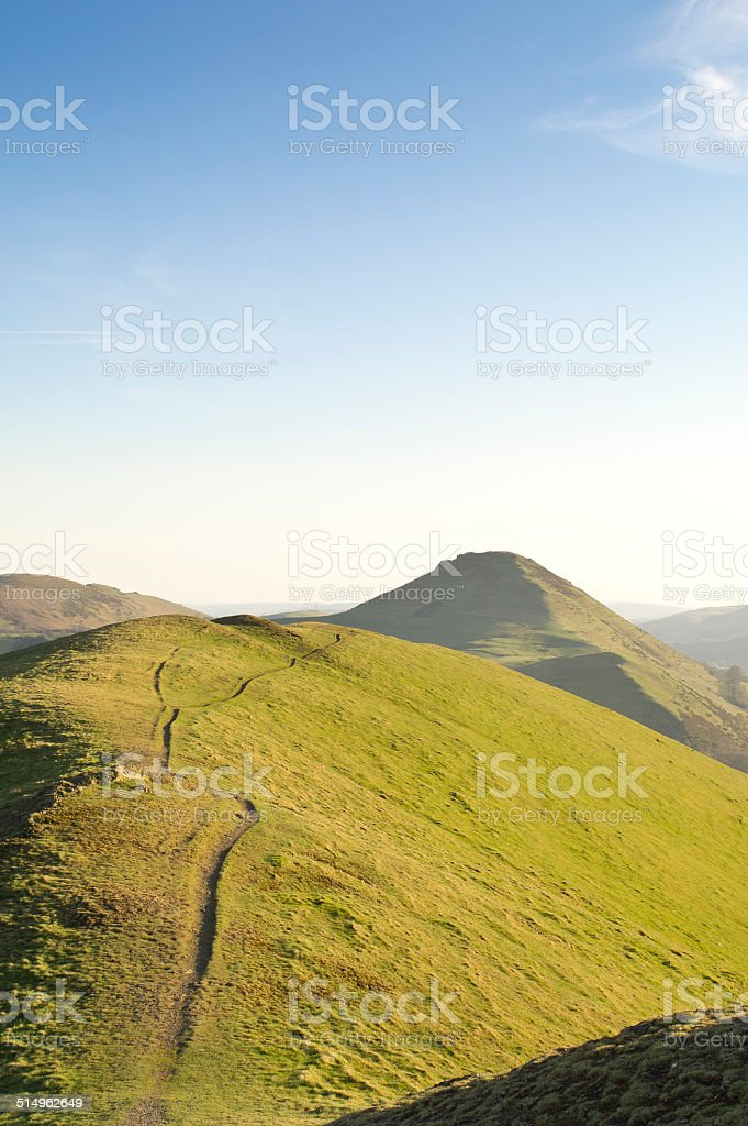 Footpath on the Lawley leading to Caer Caradoc in Shropshire stock photo