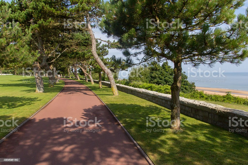 Footpath on theNormandy American War Cemetery. stock photo
