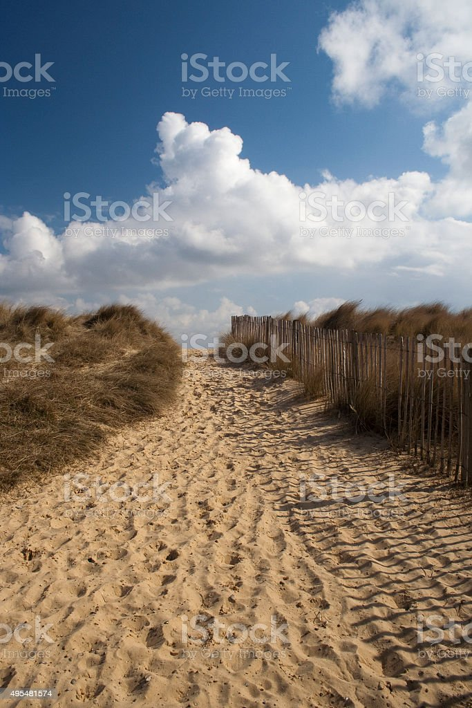 Footpath on Walberswick Beach, Suffolk, England stock photo