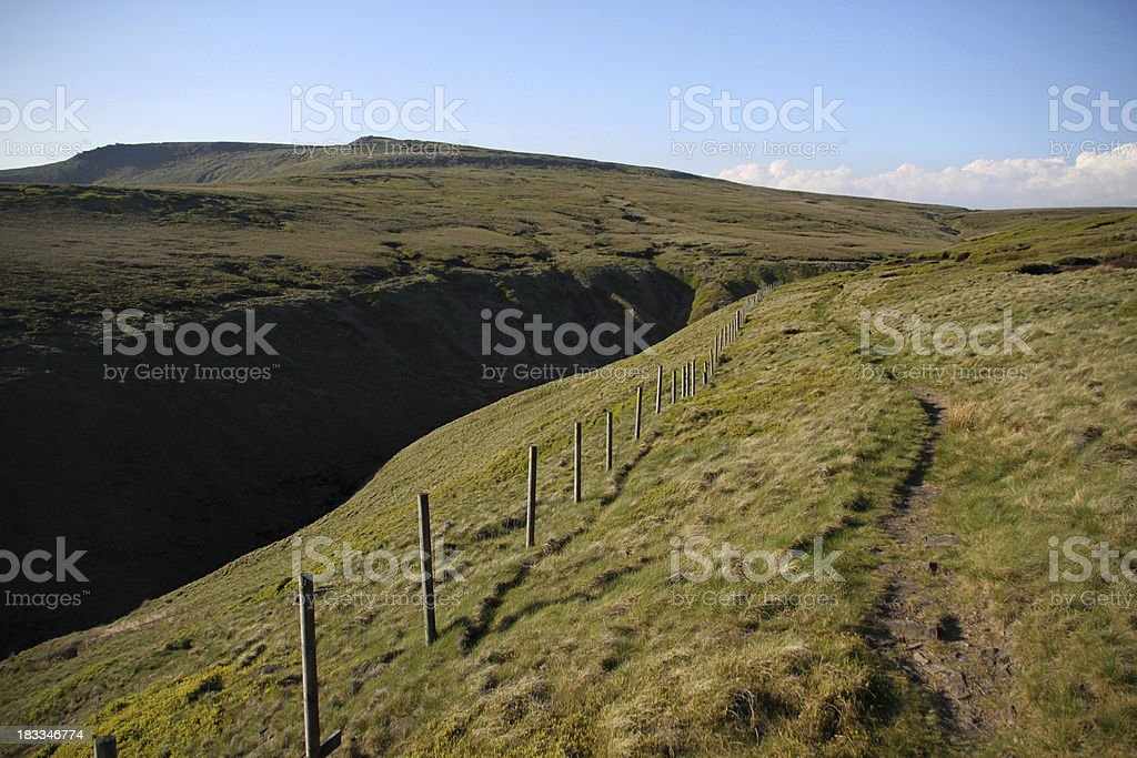 Footpath over Bleaklow in the Peak District stock photo
