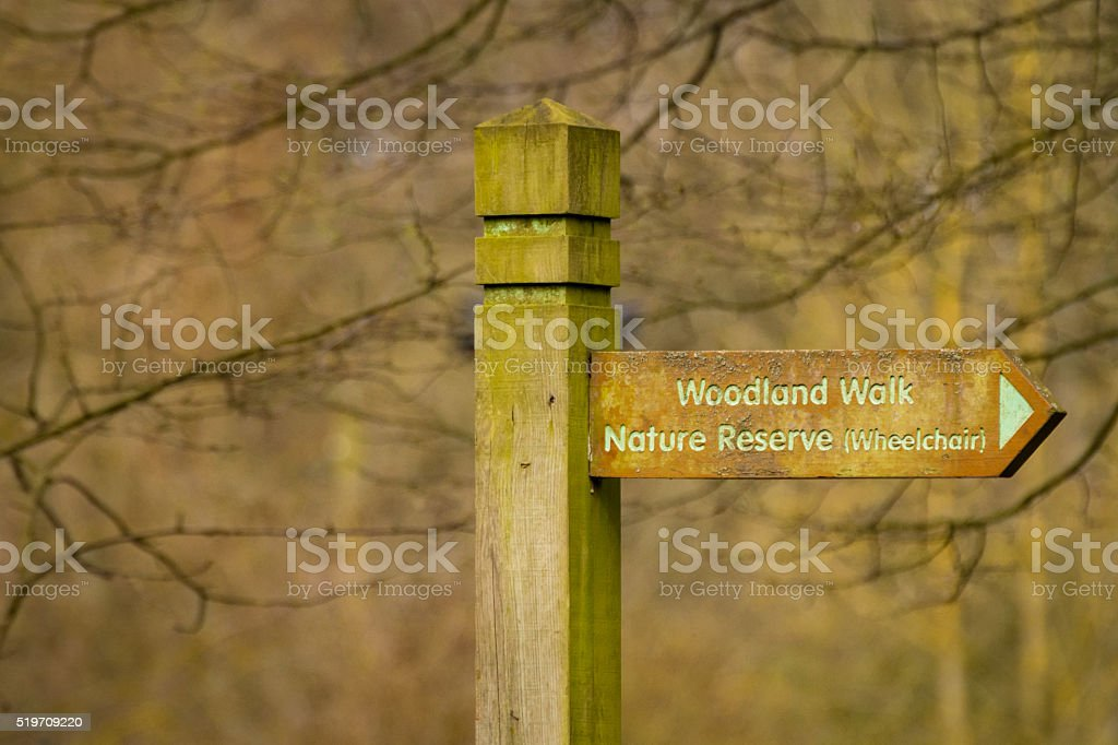 Footpath Sign For Woodland Walk Nature Reserve Wheelchair Friendly. stock photo