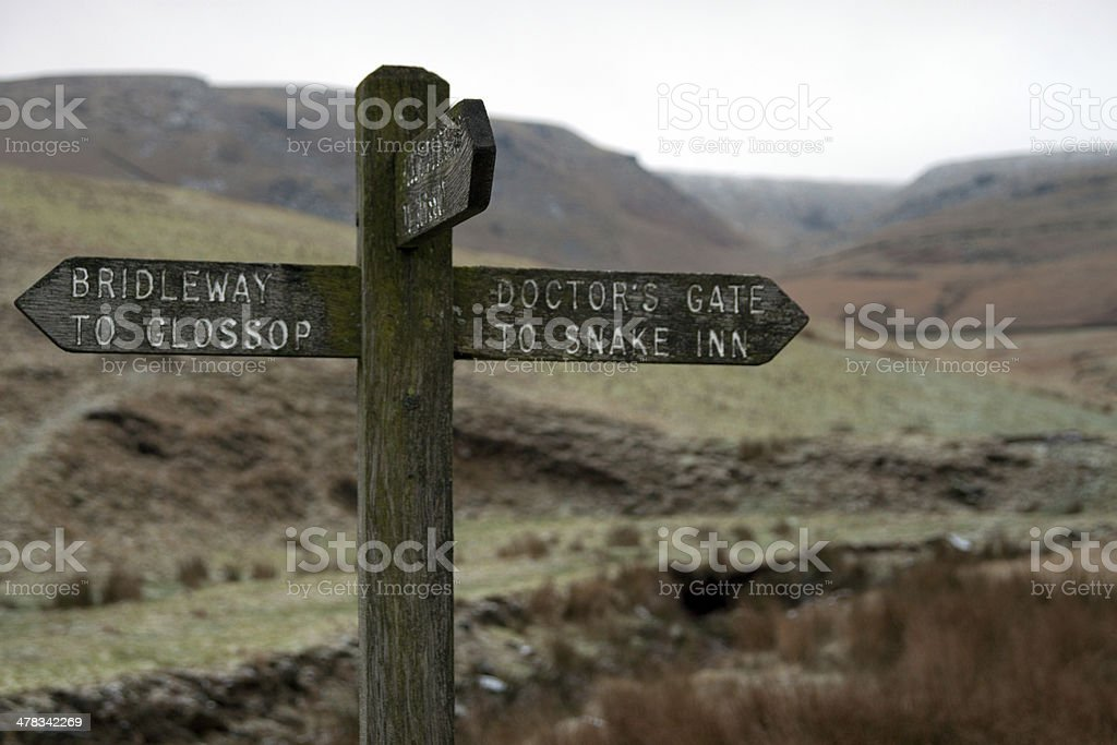 Footpath sign on Bleaklow in the Peak District stock photo