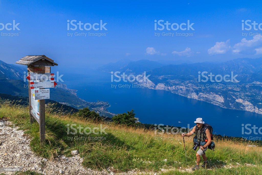 Footpath sign on Monte Baldo, Italy stock photo