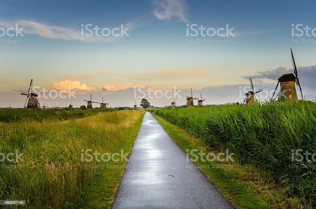 Footpath through the Countryside of The Netherlands at Sunset stock photo