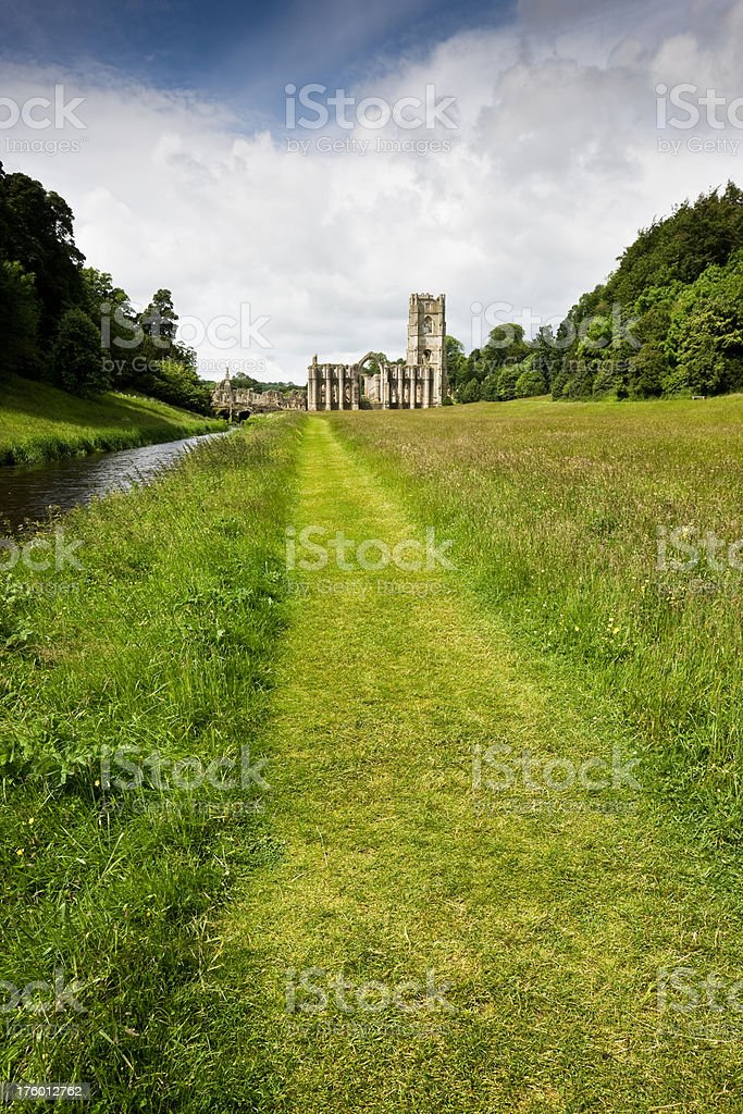Footpath to Fountains  Abbey in Yorkshire stock photo