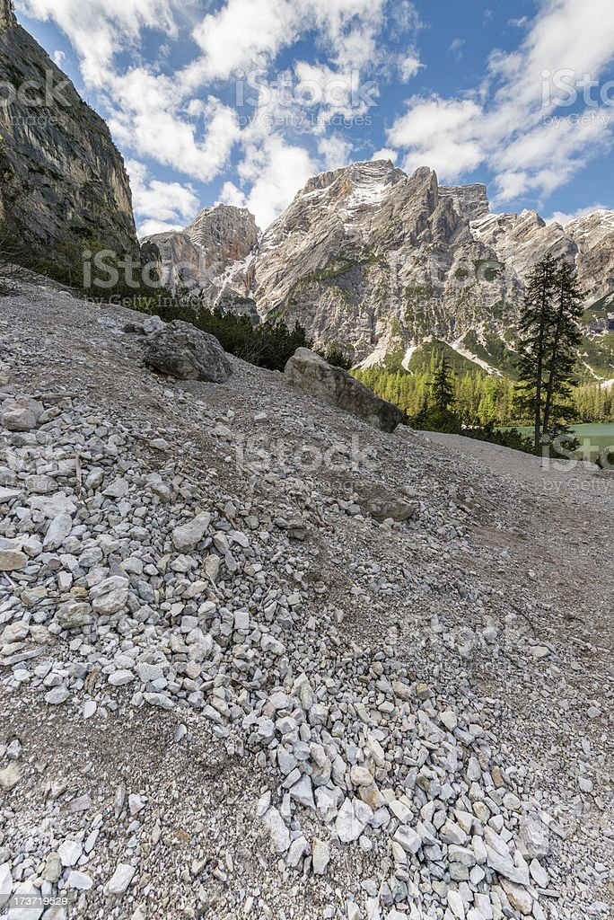 Footpath to the lake of Braies royalty-free stock photo