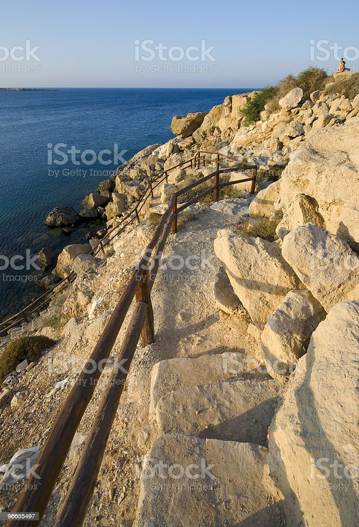 Footpath to the sea stock photo