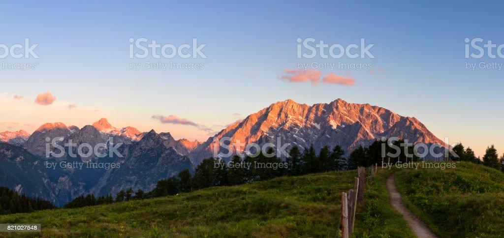 Footpath to watzmann east wall at Sunrise - Nationalpark Berchtesgaden stock photo
