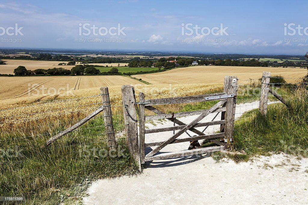 Footpath to Wilmington, East Sussex, England stock photo