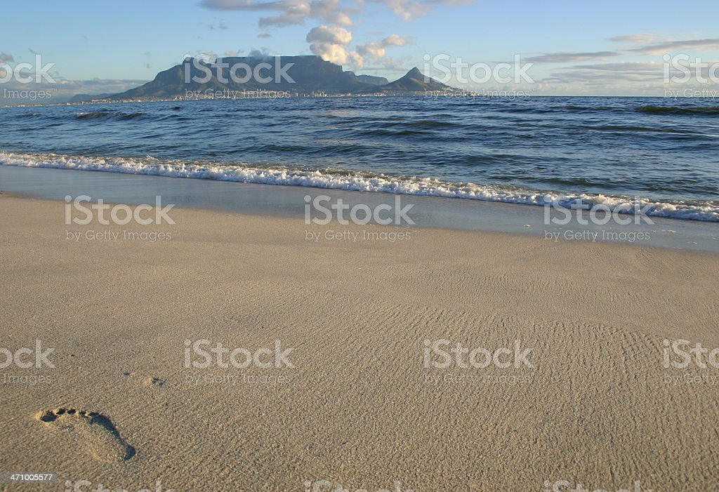 Footprint and Table Mountain royalty-free stock photo