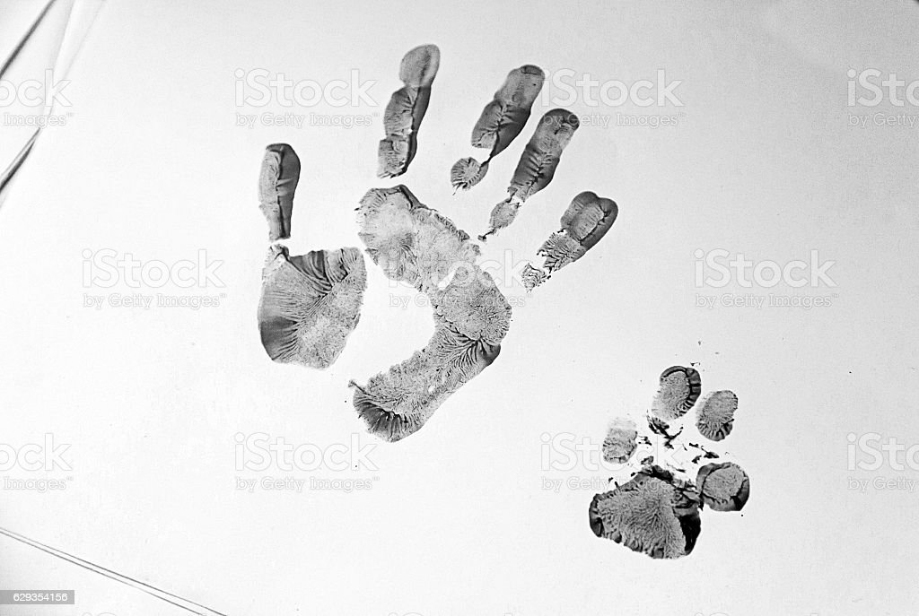 Footprint hand and dog stock photo