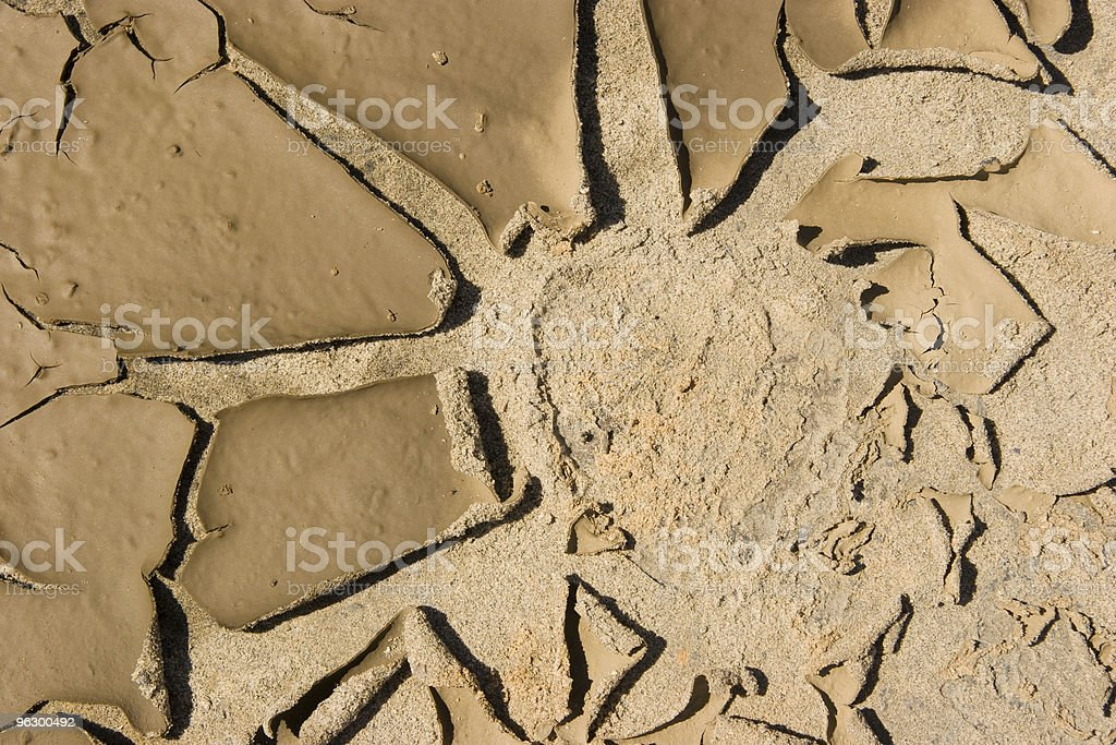 Footprint in Cracked Earth, Mud, Heat, Global Warming, Desert, Parched royalty-free stock photo
