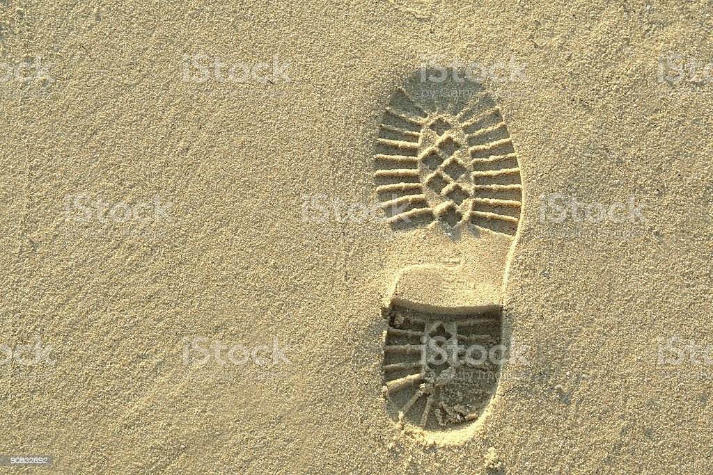 Footprint in the sand on beach royalty-free stock photo