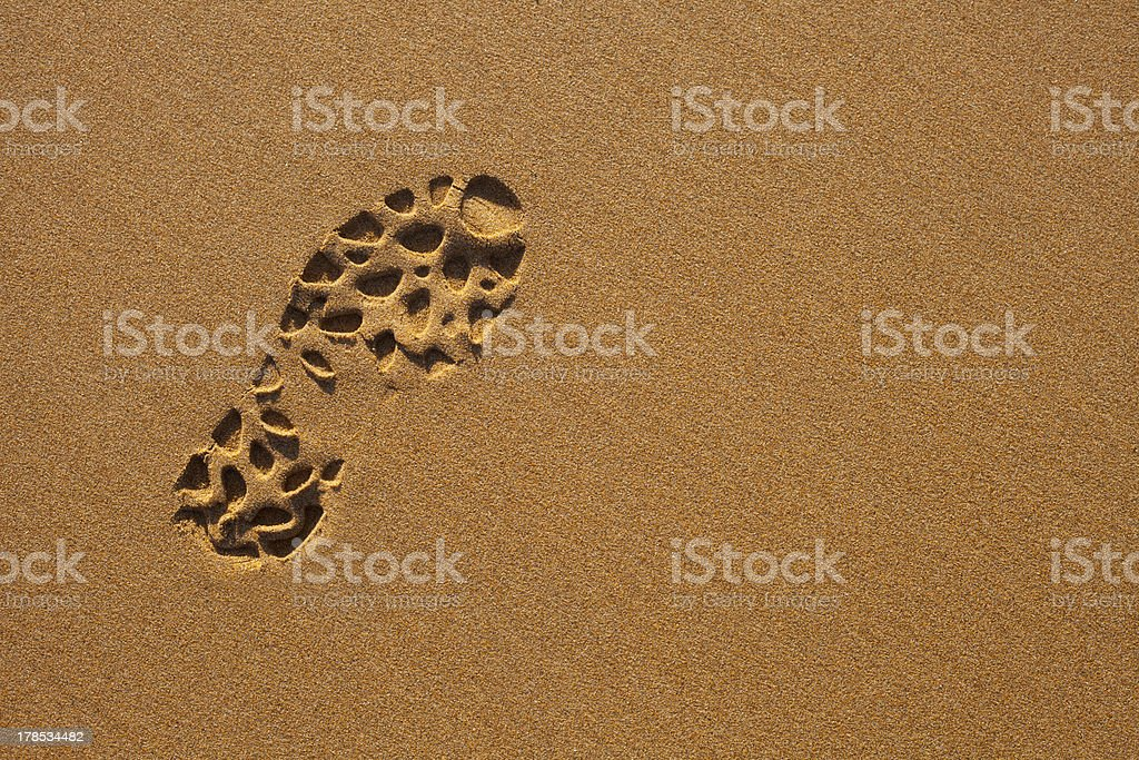 Footprint in the Sand royalty-free stock photo
