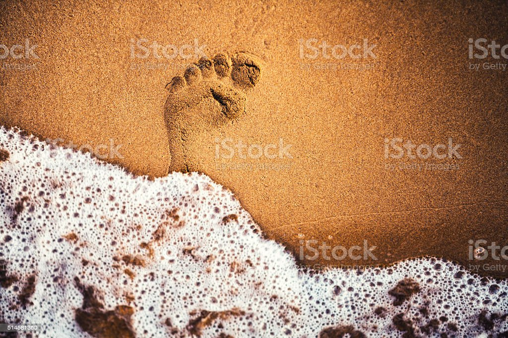 Footprint In The Sand stock photo