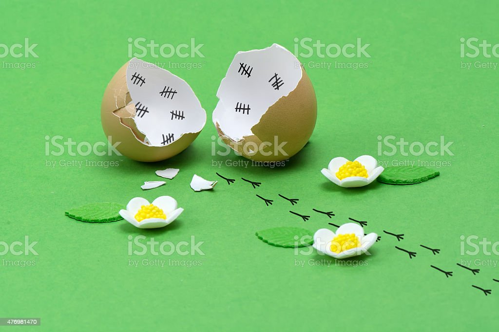Footprint of chick escaped from broken empty egg shell. stock photo