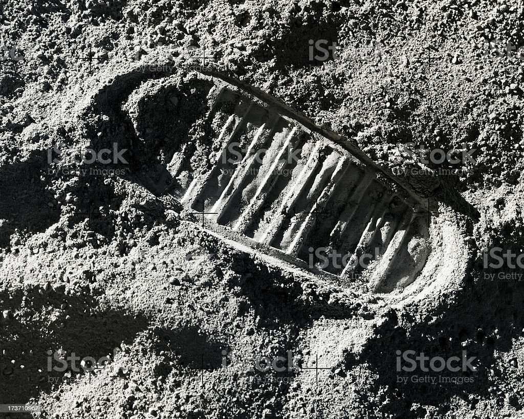 Footprint on Moon stock photo