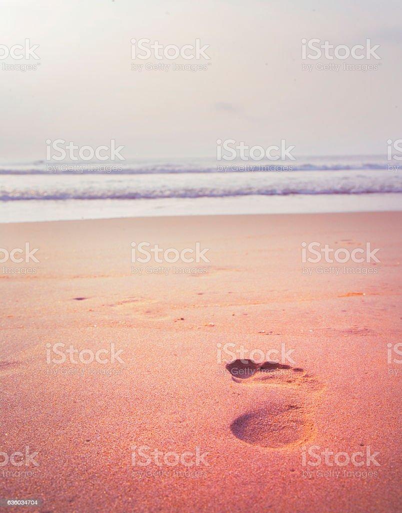 Footprint on the beach stock photo