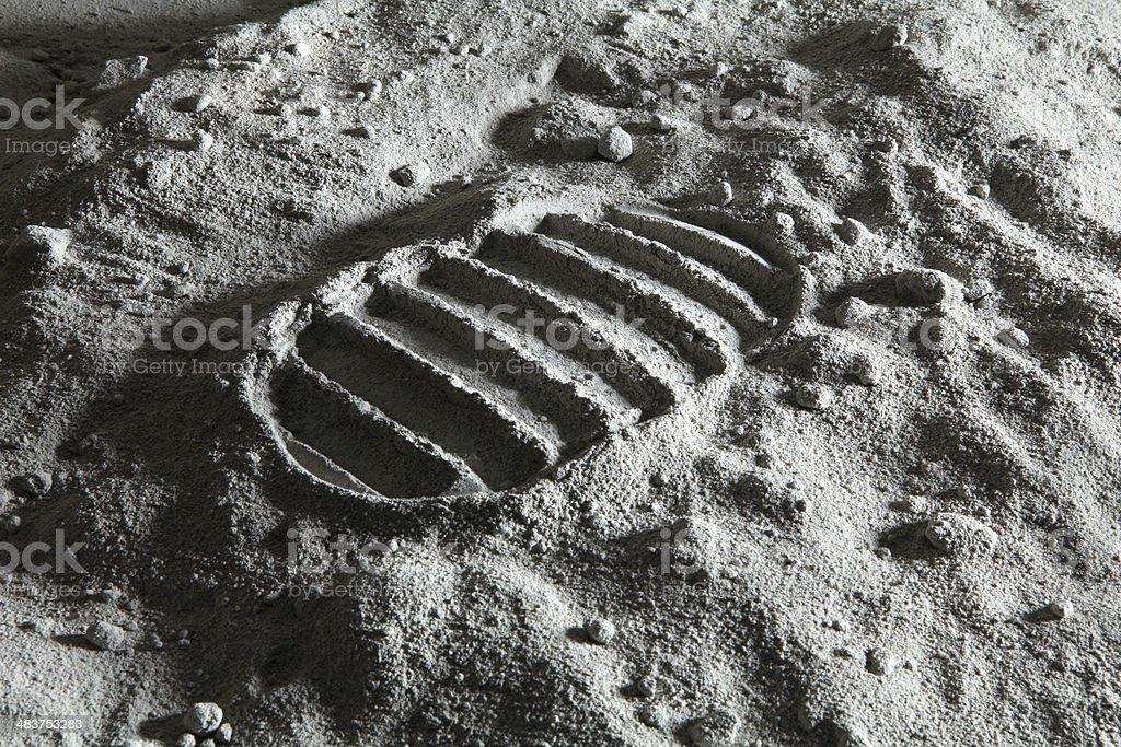 Footprint on the Moon stock photo