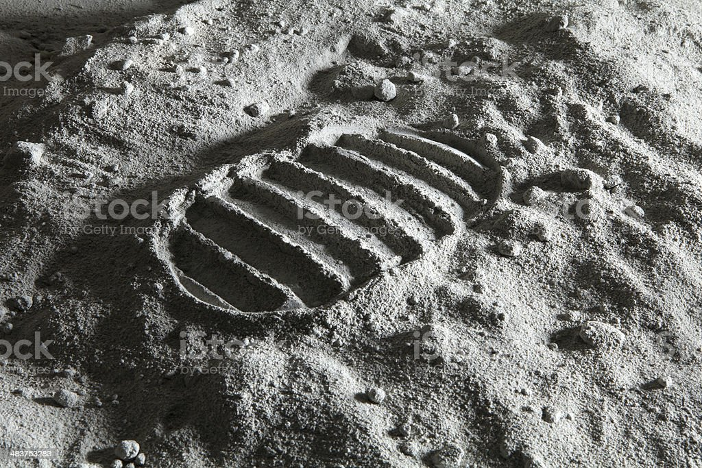 Footprint on the Moon stock photo