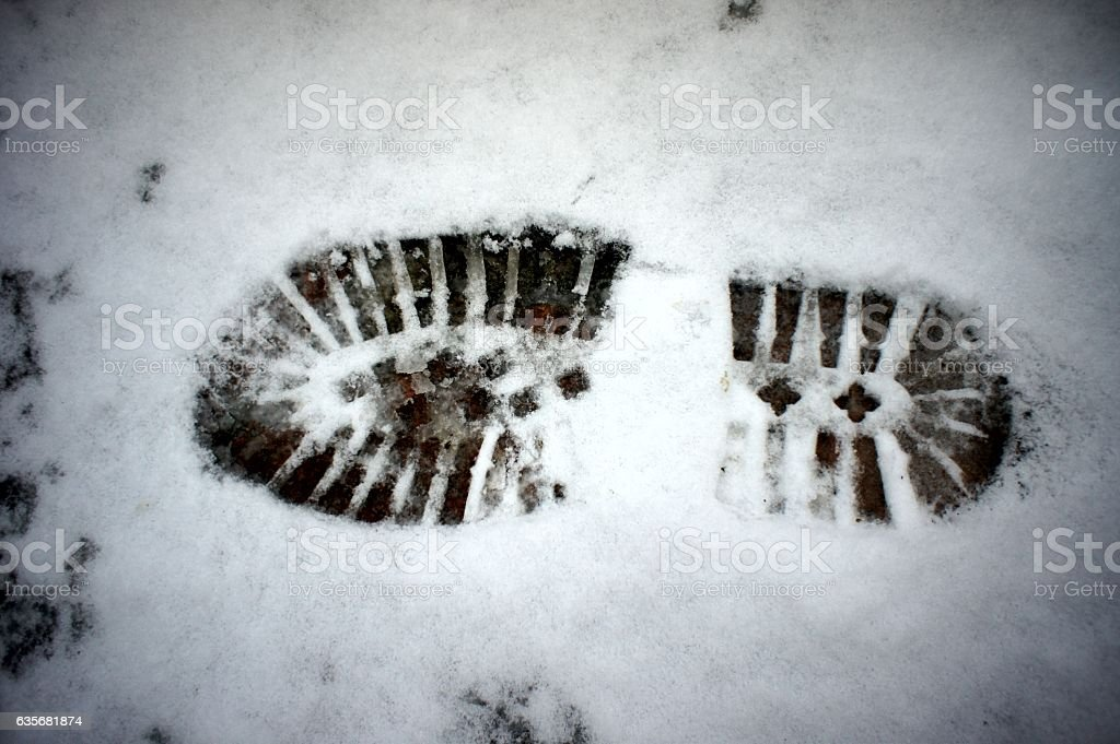 footprint, track shoes in the snow stock photo