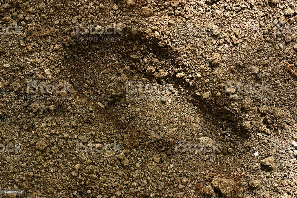 footprint,ground background,dirty royalty-free stock photo