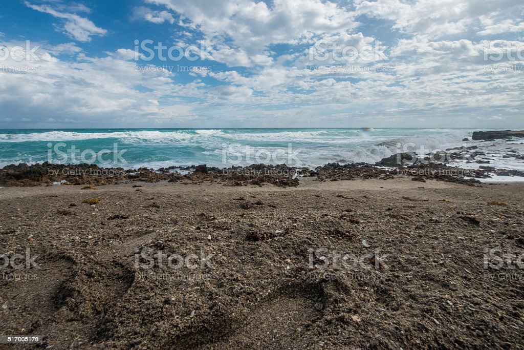 Footprints and Clouds stock photo