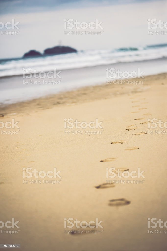 Footprints at Godrevy Lighthouse, Cornwall stock photo