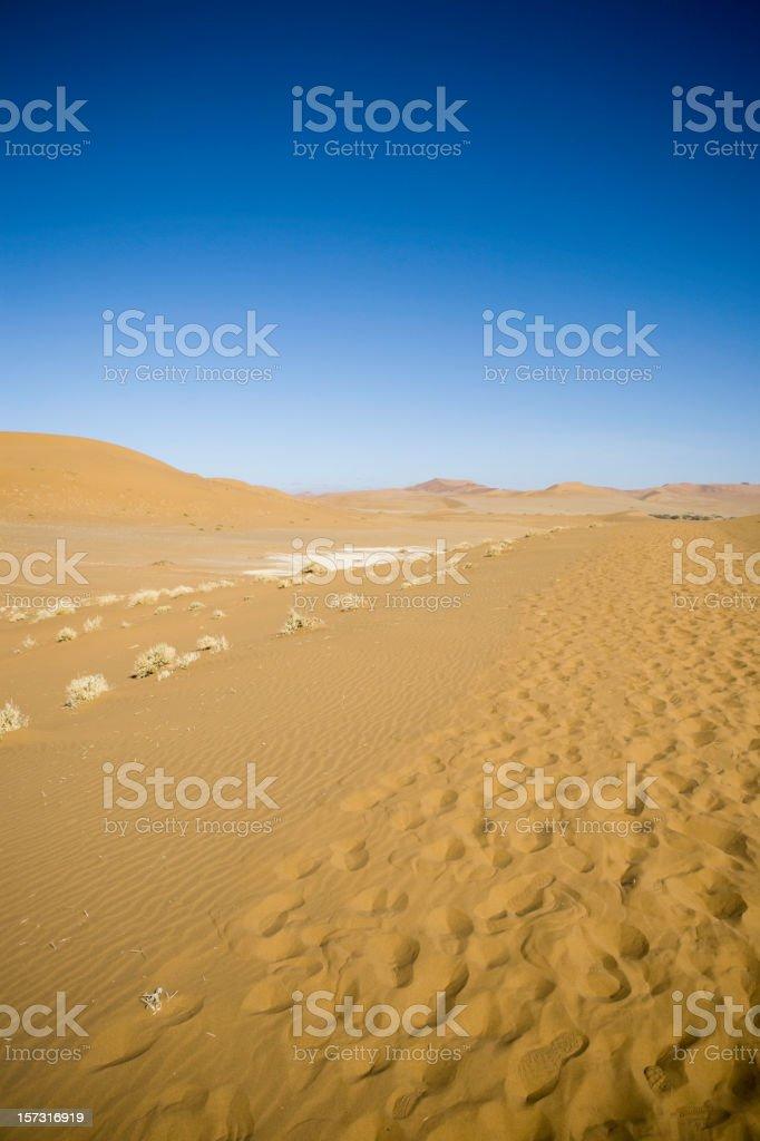 Footprints in Namibian Desert Sand stock photo