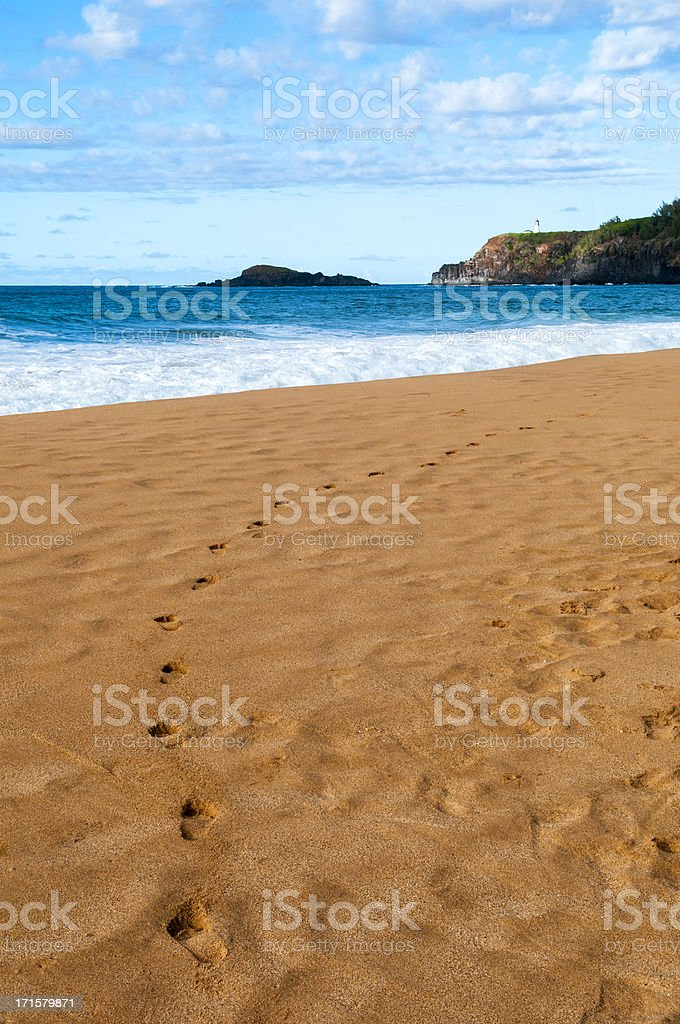 Footprints in sand and Kauai lighthouse stock photo