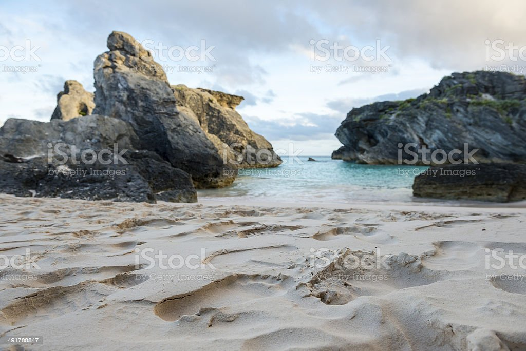 Footprints in sand at Horseshoe Bay, Bermuda stock photo