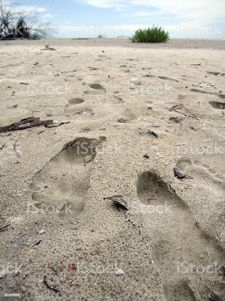 Footprints in sand on beach stock photo