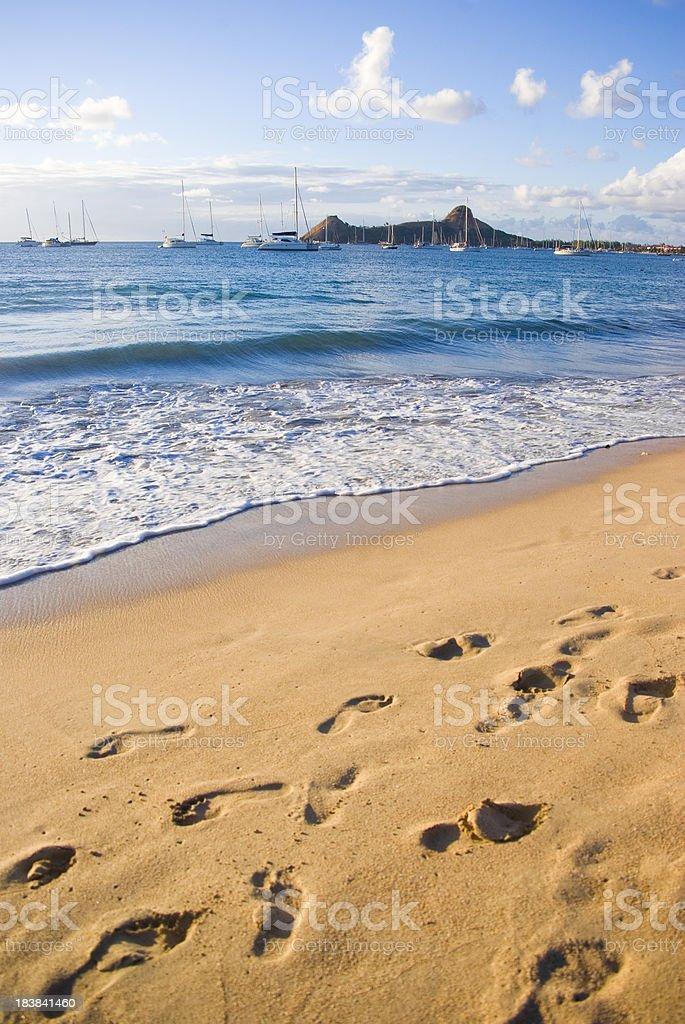 footprints in the sand; beautiful Caribbean beach stock photo