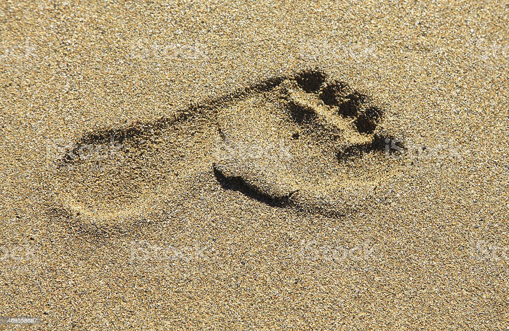 Footprints in the sand, Crete stock photo
