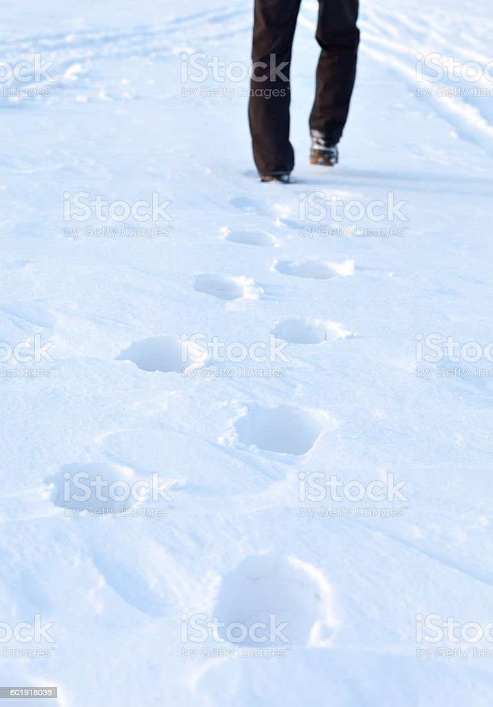 footprints in the snow. stock photo