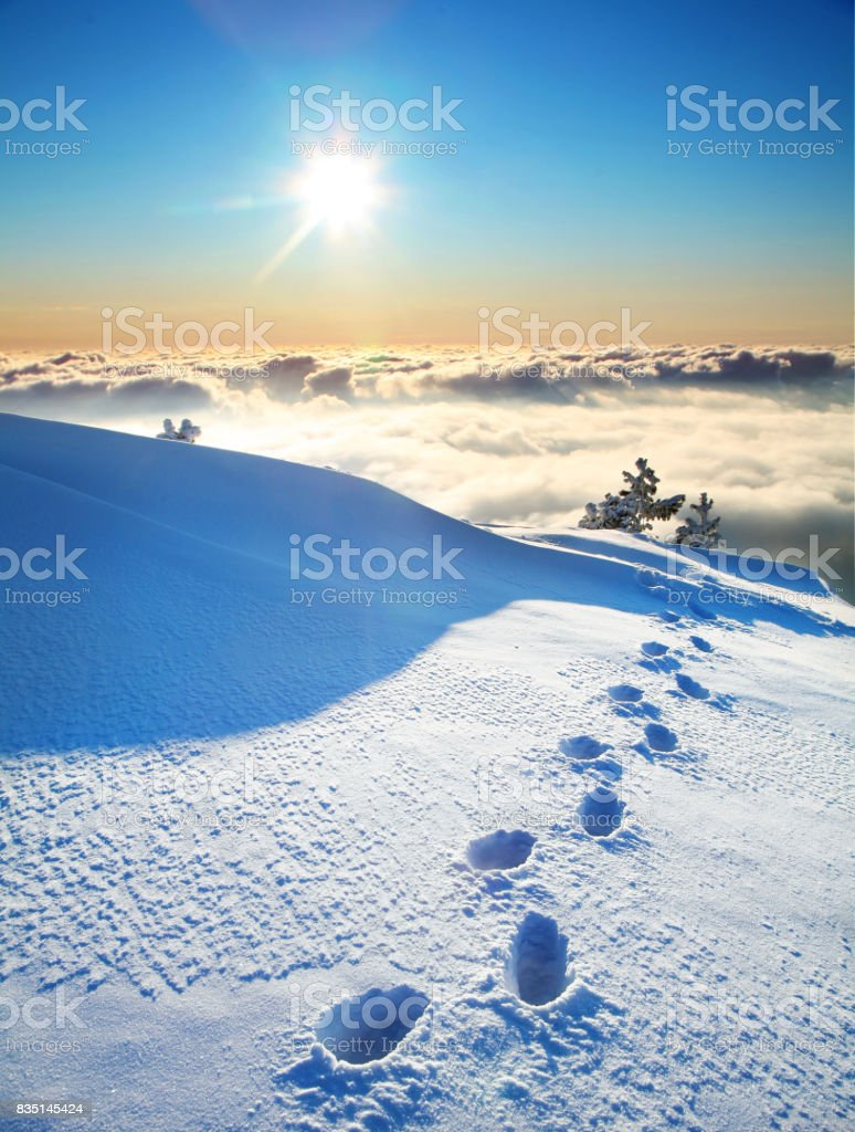 footprints on a snow stock photo
